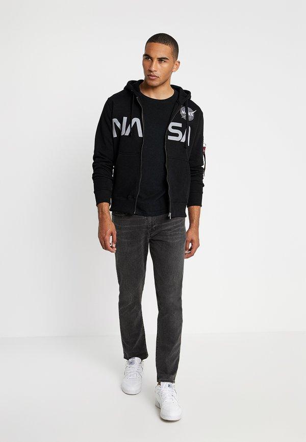 Alpha Industries NASA ZIP HOODY - Bluza rozpinana - black/czarny Odzież Męska WKCW