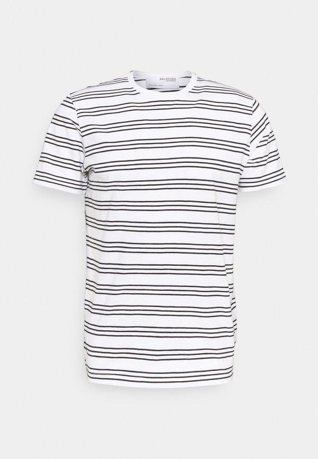 SLHTYLER O NECK TEE - Print T-shirt - white/black