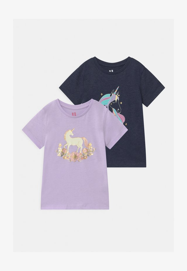 PENELOPE SHORT SLEEVE 2 PACK - T-shirts print - navy marle/vintage lilac