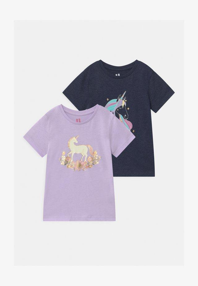 PENELOPE SHORT SLEEVE 2 PACK - T-shirt med print - navy marle/vintage lilac