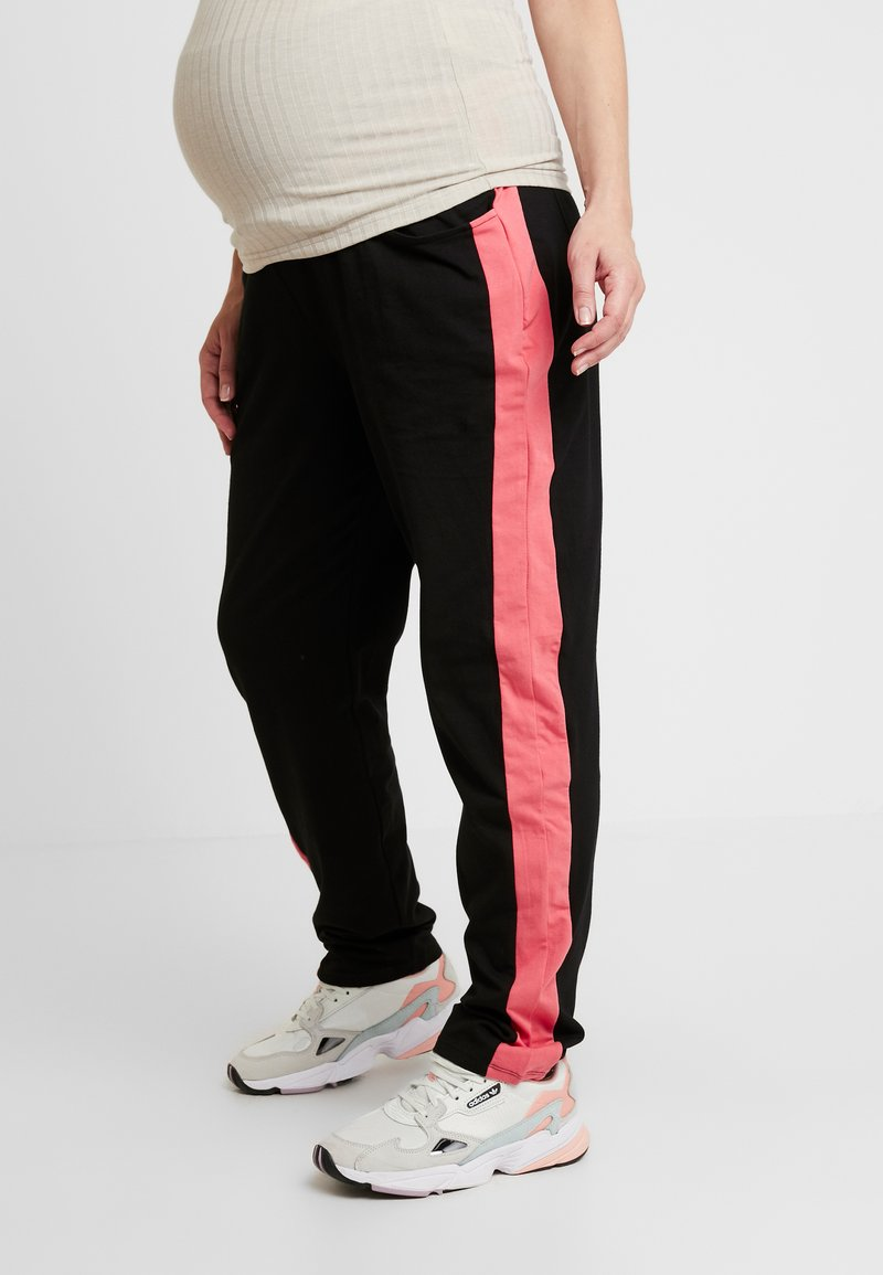 ohma! - SPORT TROUSERS WITH CONTRAST COLOR - Tracksuit bottoms - black