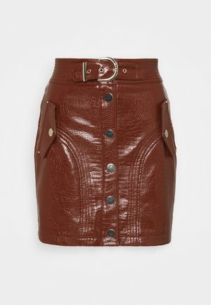 BUTTON THROUGH SKIRT - Minijupe - chocolate