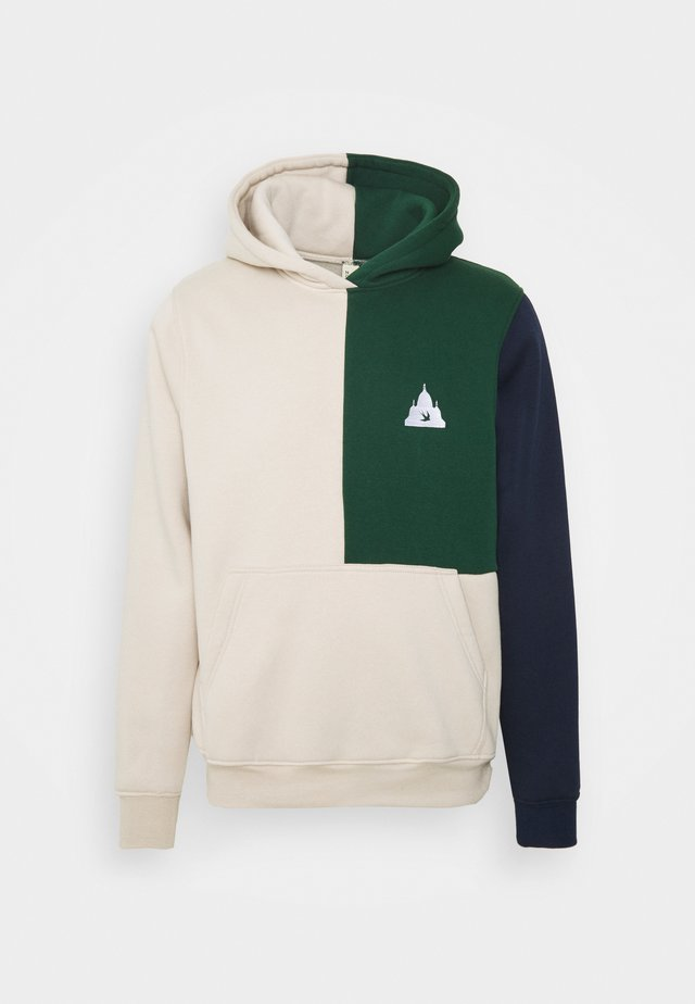 COLORBLOCK HOODIE - Sweatshirt - beige/navy/green