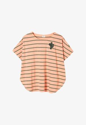 Print T-shirt - neon peach stripes