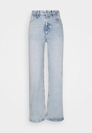 PCSUI MINI WIDE ANK JEANS  - Jeans baggy - light blue denim