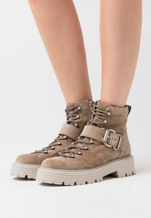 POWER - Platform ankle boots - biscuit