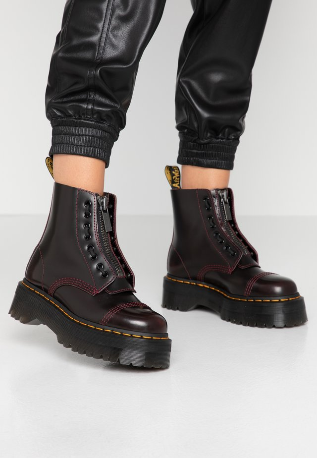 SINCLAIR - Platform ankle boots - cherry red arcadia