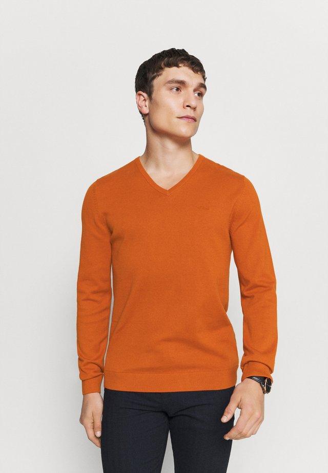 LANGARM - Strikpullover /Striktrøjer - orange melange