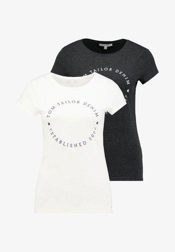 2 PACK - T-shirts med print - shale grey melange
