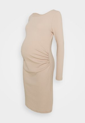 MATERNITY LETTUCE EDGE LONG SLEEVE DRESS - Vestido ligero - sand dune