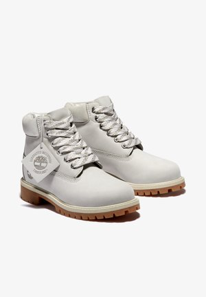 Lace-up ankle boots - light grey nubuck