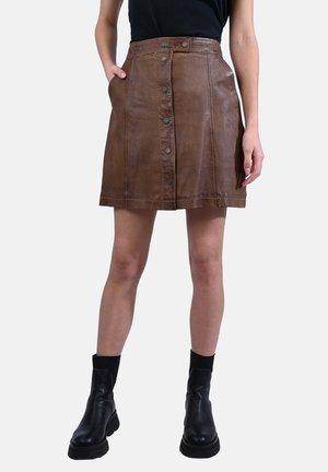 BECKIE - Leren rok - dark brown