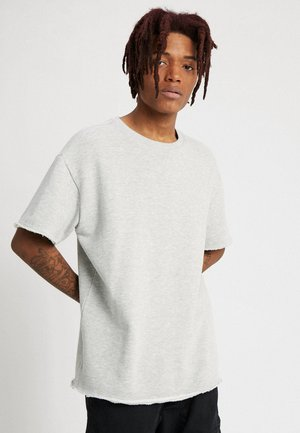 HERIRNGBONE TERRY TEE - Jednoduché triko - light grey