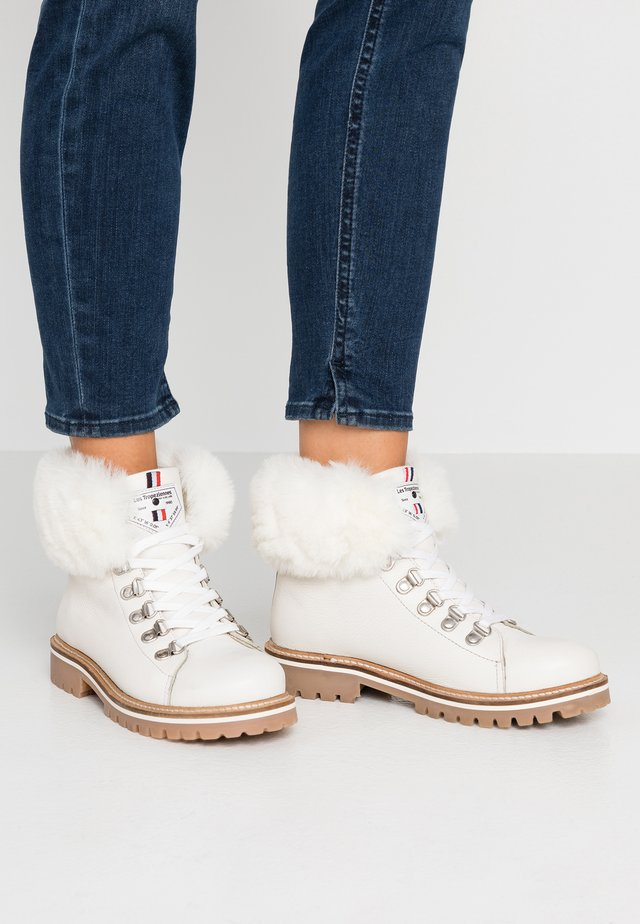 LACEN - Lace-up ankle boots - blanc