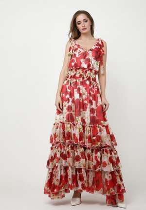 Maxi dress - milchig, rot