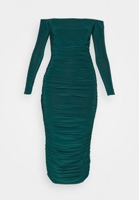 Missguided - BARDOT SLINKY RUCHED MIDAXI DRESS - Jerseykjole - deep green - 5