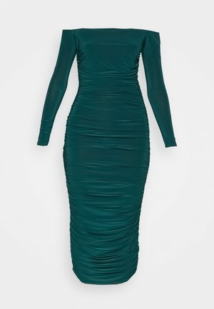 BARDOT SLINKY RUCHED MIDAXI DRESS - Jerseykjole - deep green