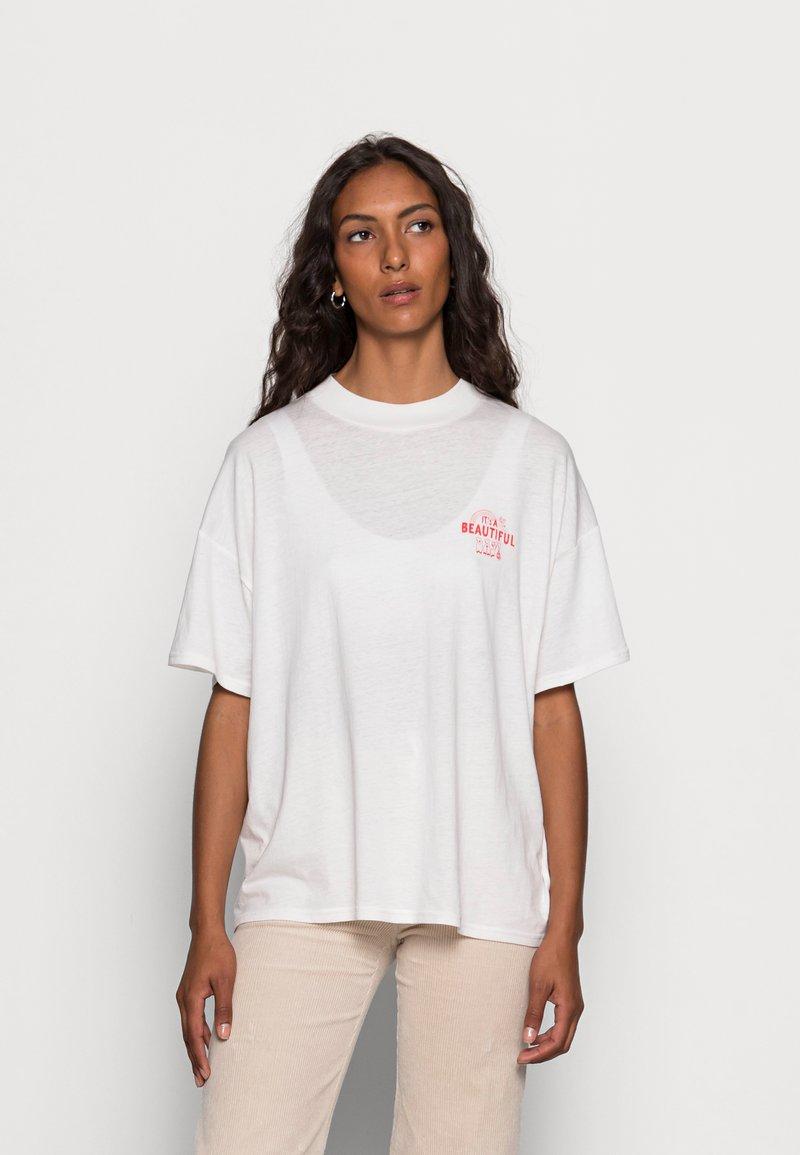 Wrangler - HIGH NECK GIRLFRIEND - Print T-shirt - almost mauve