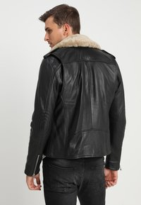 Goosecraft - GALLERY - Leather jacket - black/offwhite - 2