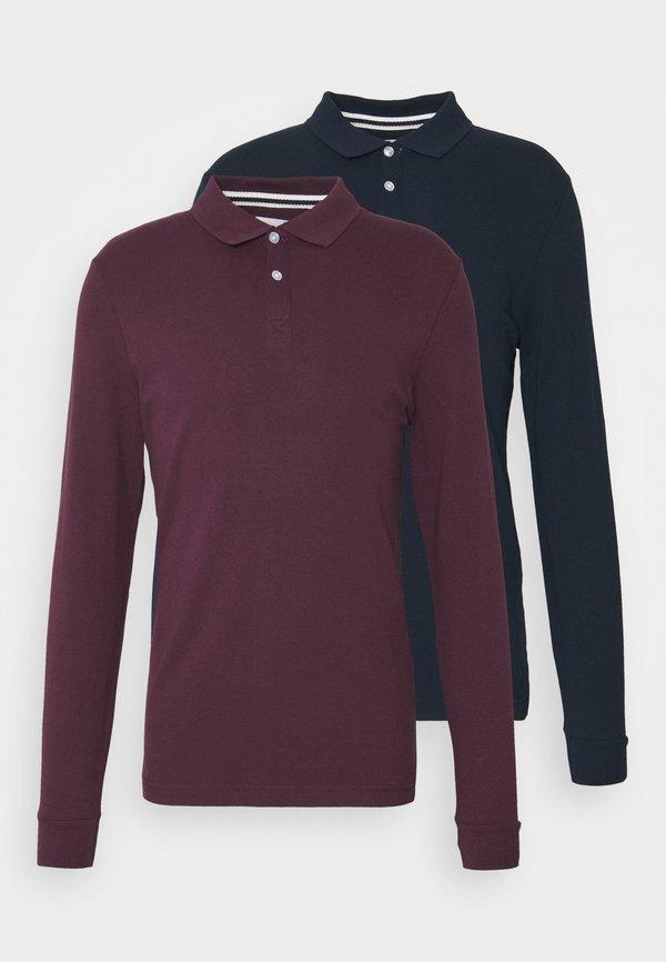 Pier One 2 PACK - Koszulka polo - bordeaux/dark blue/bordowy Odzież Męska ENUP