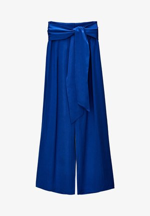 MIT BINDEGÜRTEL - Trousers - blue