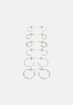 PCDIONA HOOP EARRINGS 6 PACK - Øredobber - silver-coloured