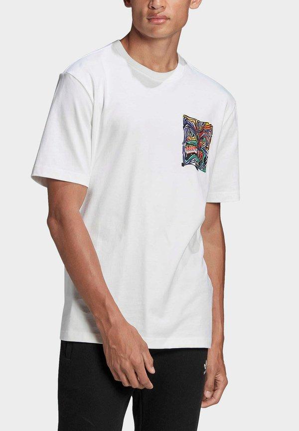 adidas Originals ADV MUNCHMAN T ADVENTURE ORIGINALS REGULAR T-SHIRT - T-shirt z nadrukiem - white/biały Odzież Męska YQKJ