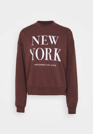 MOCK NECK LOGO CREW - Sweatshirt - burgundy