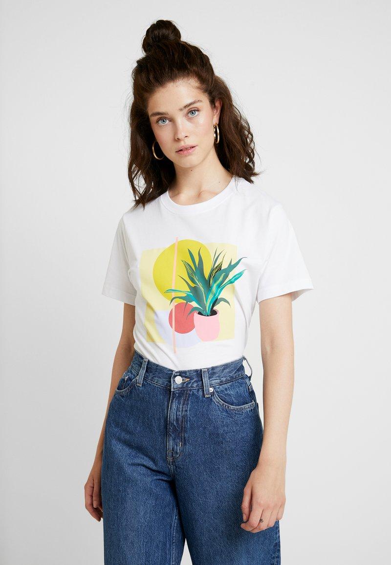 Merchcode - LADIES PLANT ART TEE - T-shirts med print - white
