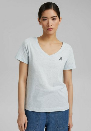 V NECK - Print T-shirt - light blue