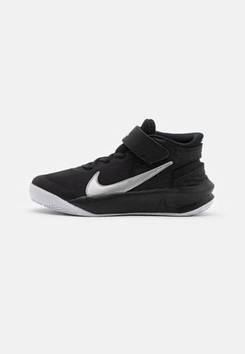 TEAM HUSTLE D 10 FLYEASE UNISEX - Basketball shoes - black/metallic silver/volt/white