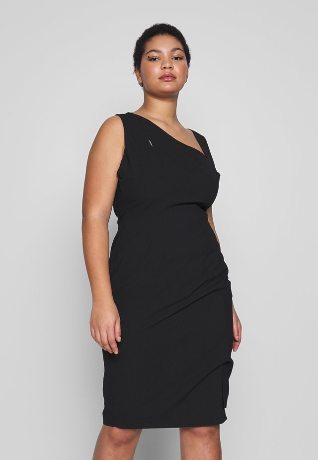 CUT OUT STRUCTURED DRESS - Shift dress - black