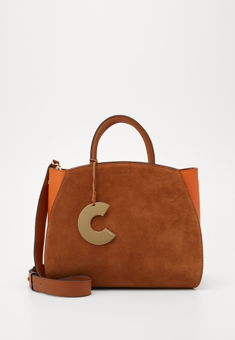 Coccinelle - CONCRETE SUEDE BICOLOR MEDIUM - Handbag - caramel/ginger