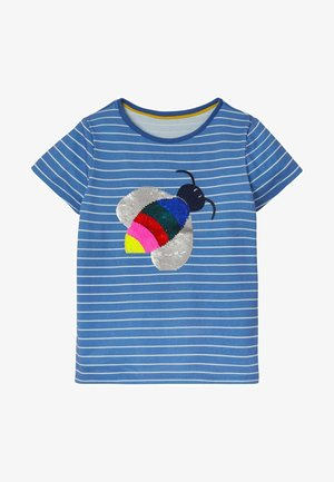 MIT FARBWECHSELNDEN PAILLETTEN - Print T-shirt - elisabethanisches blau/naturweiß, biene