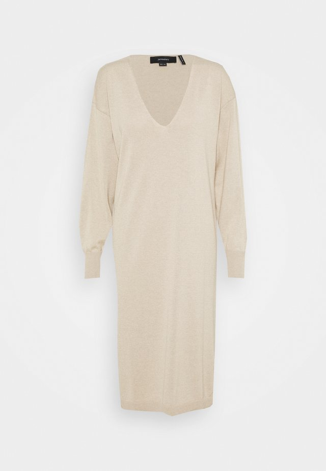 V-NECK MIDI DRESS - Gebreide jurk - beige
