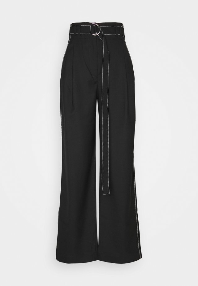 STRETCH SUITING TIE WAIST PANTS - Trousers - black