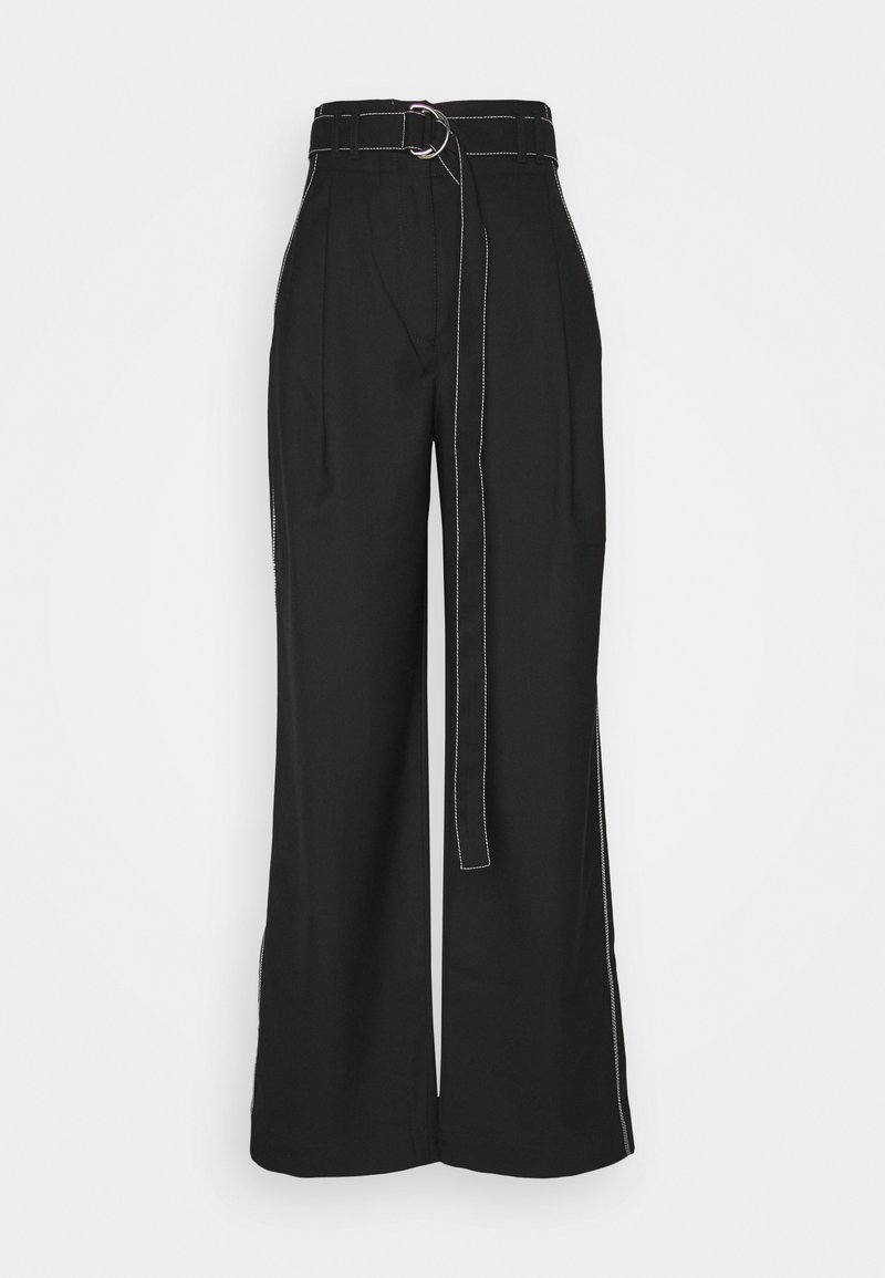 Proenza Schouler White Label - STRETCH SUITING TIE WAIST PANTS - Kalhoty - black