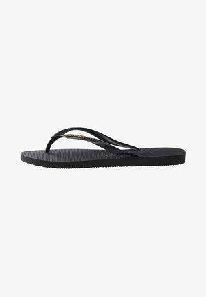 SLIM LOGO METALLIC - Pool shoes - black