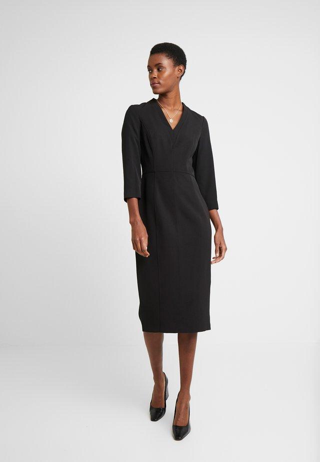 LONG SLEEVE V-NECK DRESS - Shift dress - black
