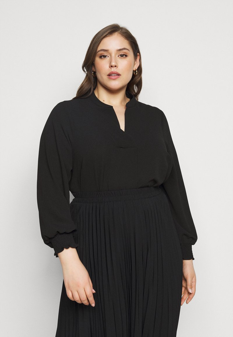 Evans - SHEARED CUFF WOVEN TOP - Blouse - black