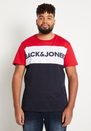 JJELOGO BLOCKING TEE - T-shirt print - tango red