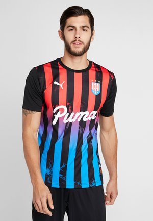 T-shirt med print - puma black/poppy red
