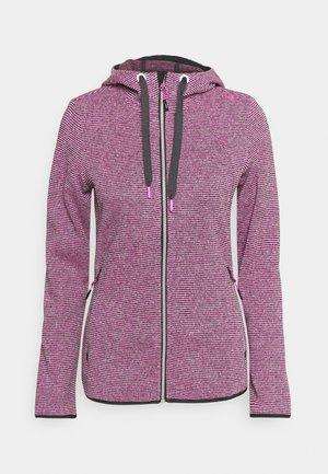 WOMAN JACKET FIX HOOD - Fleecová bunda - purple fluo/antracite