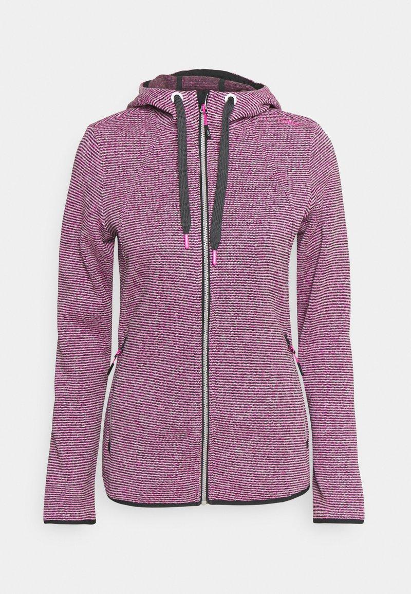 CMP - WOMAN JACKET FIX HOOD - Fleece jacket - purple fluo/antracite