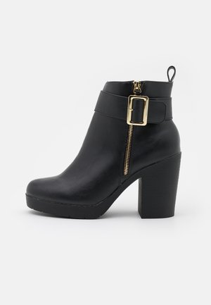 WIDE FIT ABBA CHUNKY BUCKLE - Bottines à plateau - black