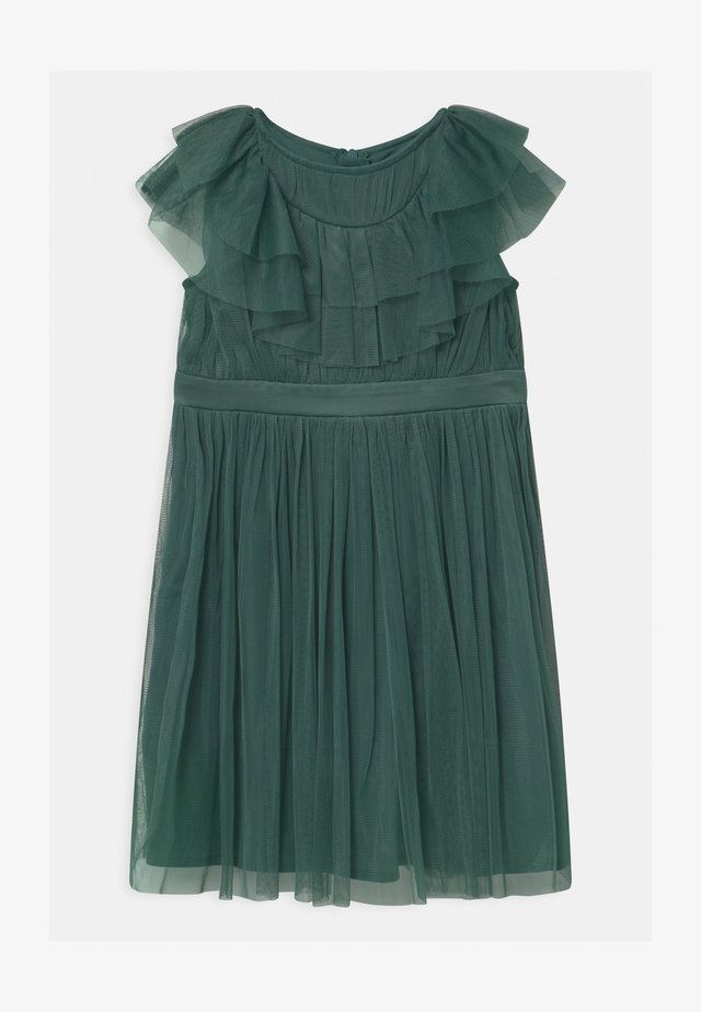 RUFFLE BIB WITH BOW - Cocktail dress / Party dress - jade green