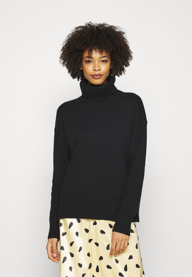 CROP OVERSIZED TNECK - Sweter - true black