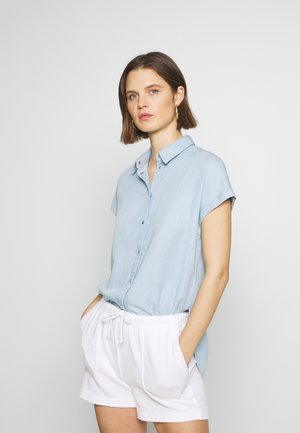 BLOUSE LONGER LENGH PRESS BUTTON - Button-down blouse - tencel bleach wash