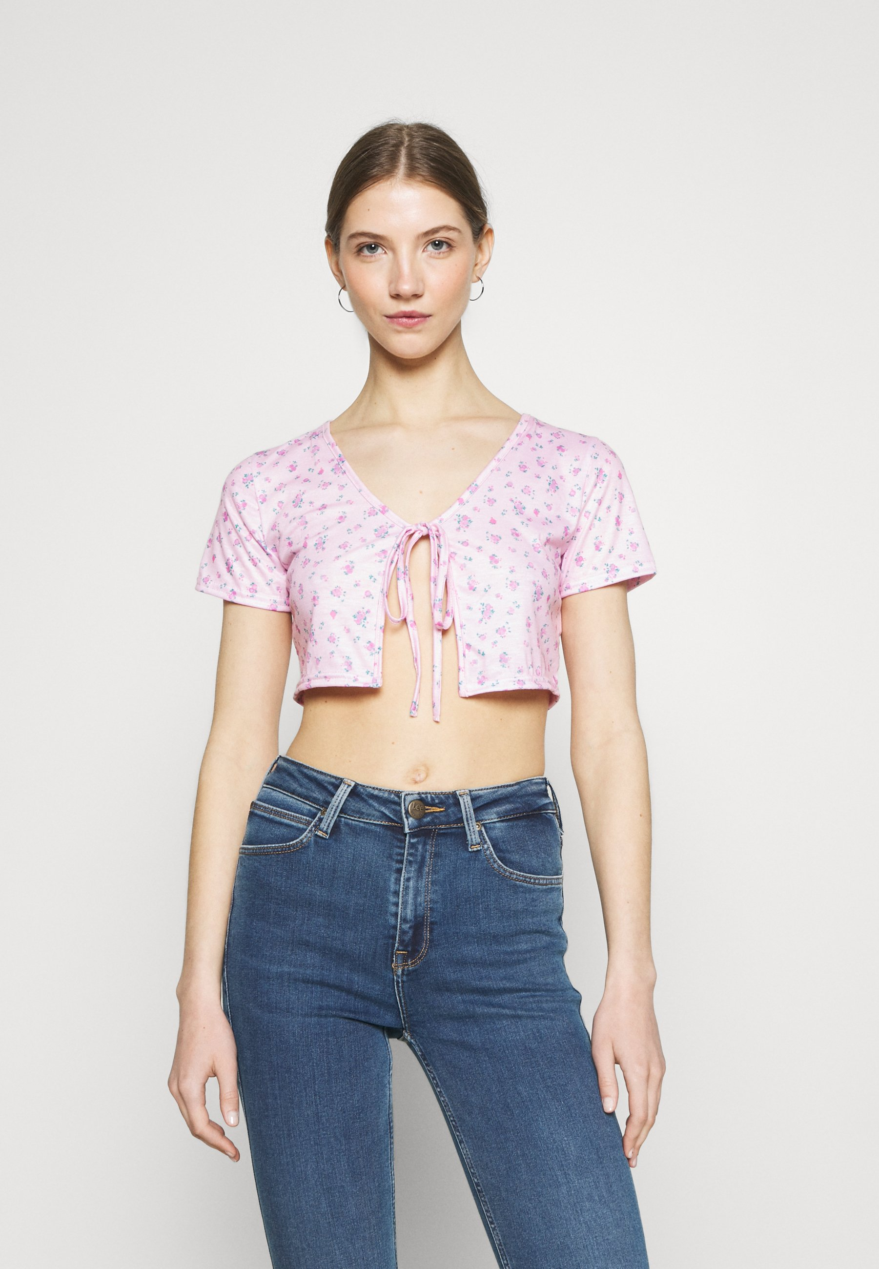 Women DITSY TIE UP CROP - Print T-shirt