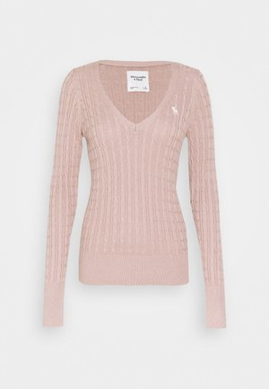 ICON CABLE VNECK - Svetr - light pink